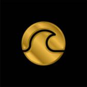 Pláž pozlacené kovové ikony nebo logo vektor