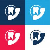 Ernennung blau und rot vier Farben minimalen Symbolsatz