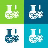 Biologie Flache Vier-Farben-Minimalsymbolset