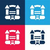 Bouncy hrad modrá a červená čtyři barvy minimální ikona nastavena