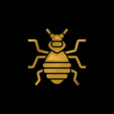 Bedbug gold plated metalic icon or logo vector stock vector