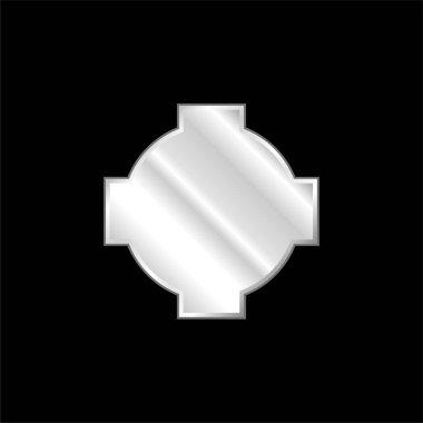 Black Cross Shield silver plated metallic icon stock vector