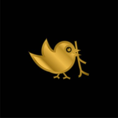 Bird With Sprig In Its Beak gold plated metalic icon or logo vector stock vector