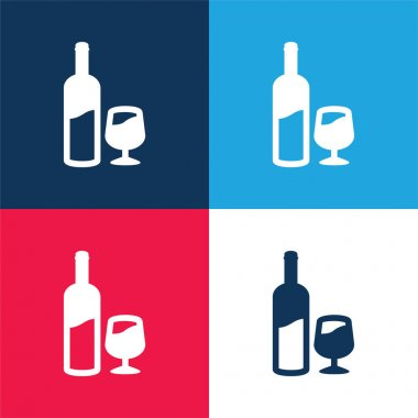 Bottle And Glass Of Wine blue and red four color minimal icon set stock vector