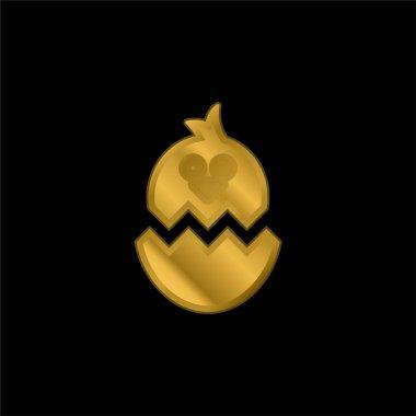 Tavuk altın kaplama metalik ikon veya logo vektörlü Boken Yumurtası