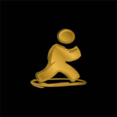 AIM Sketched Social Logo gold plated metalic icon or logo vector stock vector