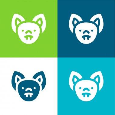 Bat Flat four color minimal icon set stock vector