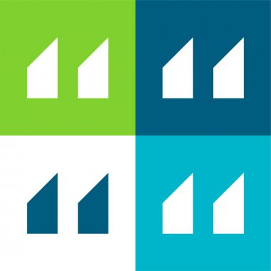 Blocks With Angled Cuts Flat four color minimal icon set