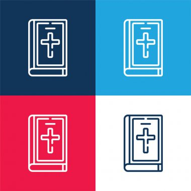 Bible blue and red four color minimal icon set stock vector