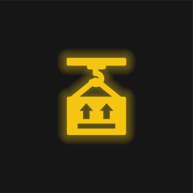 Box yellow glowing neon icon stock vector