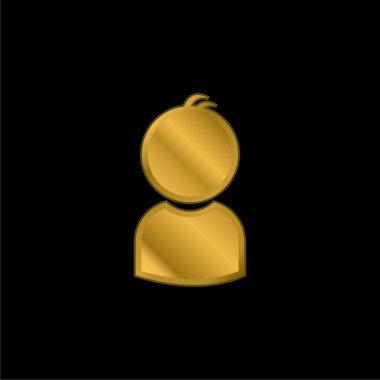 Boy gold plated metalic icon or logo vector stock vector