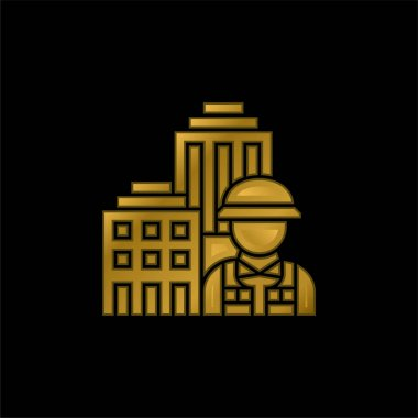 Architecture gold plated metalic icon or logo vector