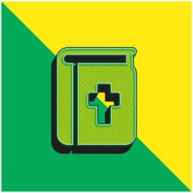 İncil Yeşil ve Sarı Modern 3D vektör simgesi logosu