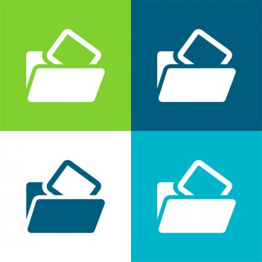 Blank Folder Flat four color minimal icon set stock vector