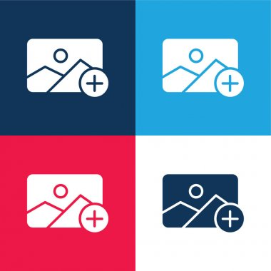Add blue and red four color minimal icon set stock vector