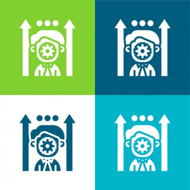 Boosting Potential Flat four color minimal icon set stock vector