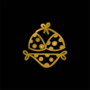 Bikini gold plated metalic icon or logo vector stock vector