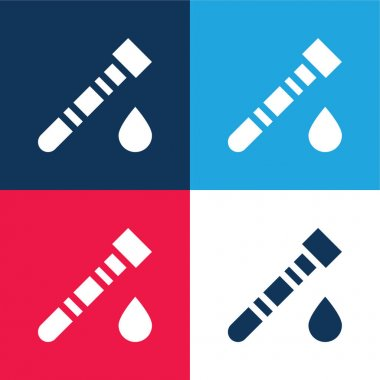 Blood Test blue and red four color minimal icon set stock vector