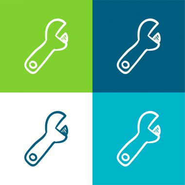 Adjustable Spanner Hand Drawn Construction Tool Flat four color minimal icon set stock vector