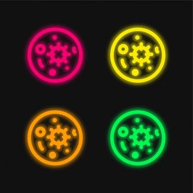 Kan Testi dört renk parlayan neon vektör simgesi