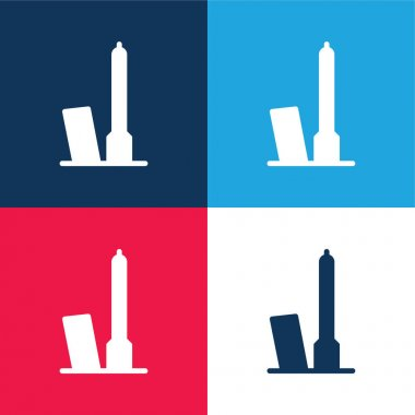 Bologna blue and red four color minimal icon set stock vector