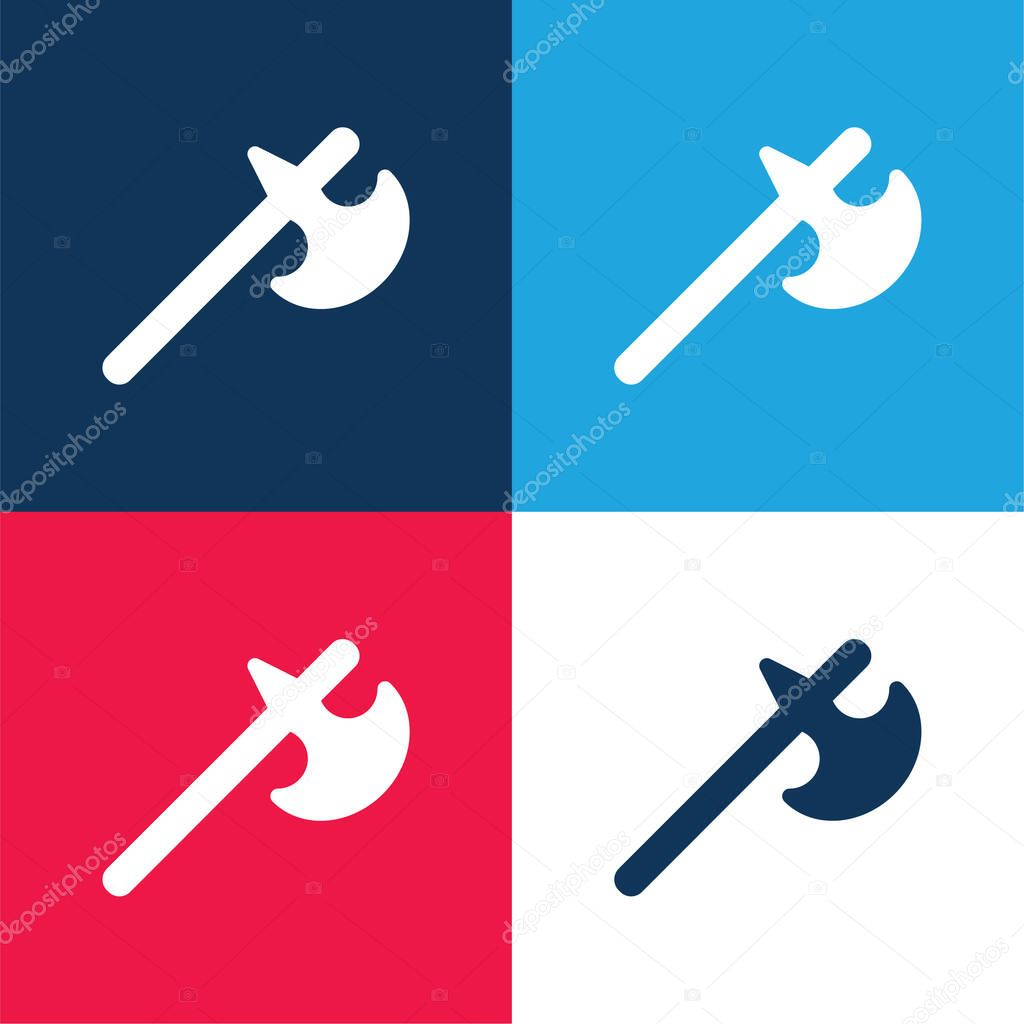 Battle Axe blue and red four color minimal icon set stock vector