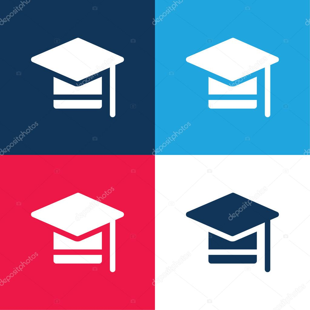 Bachelors Degree blue and red four color minimal icon set stock vector