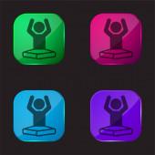 Boy On Lotus Pozice Flexing Arms čtyři barvy skla ikona tlačítka