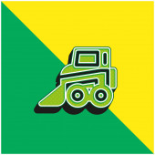 Backhoe Green and yellow modern 3d vector icon logo