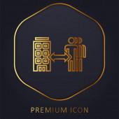 B2b arany vonal prémium logó vagy ikon