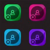 Přidat kamaráda čtyři barvy skleněné tlačítko ikona