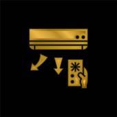 Klimaanlage vergoldet metallisches Symbol oder Logo-Vektor