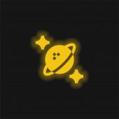 Astrofyzika žlutá zářící neonová ikona