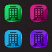 Big Building čtyři barvy skleněné tlačítko ikona