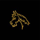 Angry Horse Face Side View Outline vergoldet metallisches Symbol oder Logo-Vektor
