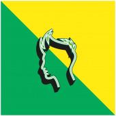 Junge Haare Umriss grün und gelb moderne 3D-Vektor-Symbol-Logo
