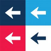 Nyíl balra Sziluett kék és piros négy szín minimális ikon készlet