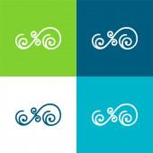 Asymmetrische Floral Design Of Spirals Flache vier Farben minimalen Symbolsatz