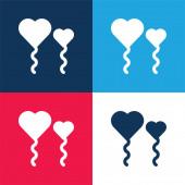 Lufik kék és piros négy szín minimális ikon készlet