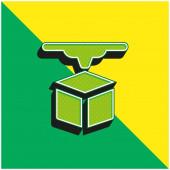 3D tiskárna Zelená a žlutá moderní 3D vektorové logo ikony
