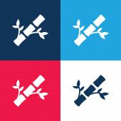 Bamboo blue and red four color minimal icon set