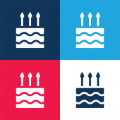 Születésnapi torta kék és piros négy szín minimális ikon készlet