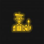 Künstler gelb leuchtende Neon-Ikone