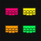 Klammern vier Farbe leuchtenden Neon-Vektor-Symbol