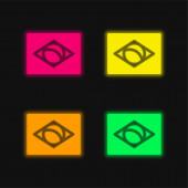 Brazílie čtyři barvy zářící neonový vektor ikona