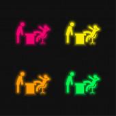 Boss Office vier Farben leuchtenden Neon-Vektor-Symbol