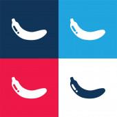 Banánkék és piros négy szín minimális ikon készlet