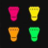 Badmintom péro čtyři barvy zářící neonový vektor ikona