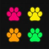 Animal Paw Nyomtatás négy szín izzó neon vektor ikon