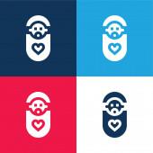 Baby blau und rot vier Farben minimalen Symbolsatz